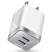 Dual USB 12W Travel Wall Charger Metallic Silver (OTH2USB2ASL)