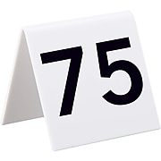 """Alpine Industries Numbers 51-75 3"""" x 3"""" White Acrylic Table Tent, 25/Pack (493-51-75)"""