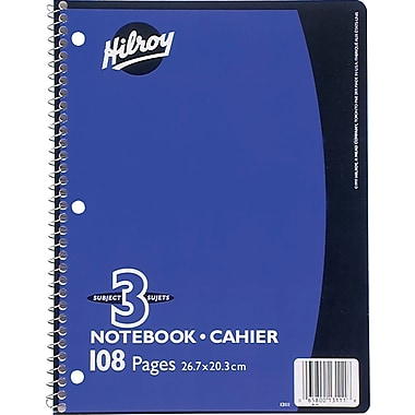 Hilroy - Cahiers de notes 3 sujets, 10 1/2 po x 8 po, variés, 108 pages, perforé à 3 trous