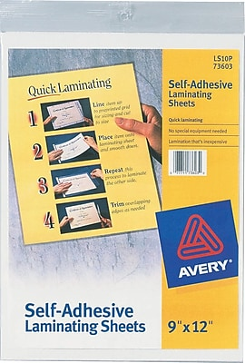 Avery Self Adhesive Laminating Sheets 3mil Letter Size
