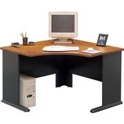 "Bush Cubix 48"" Corner Desk, Natural Cherry and Slate Gray"