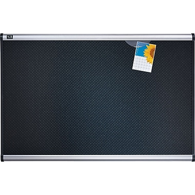 Quartet® Prestige® Black Embossed Foam Bulletin Board, Aluminum Frame, 48