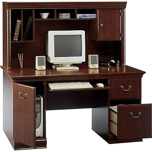 Bush Furniture Birmingham 60W Desk With Hutch, Harvest