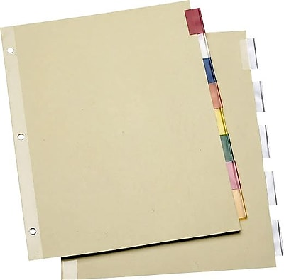 Staples® Economy Insertable Dividers with Buff Paper, 8-Tab Multicolor, 6 Sets/Pack