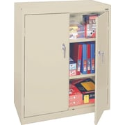 "Sandusky 42""H Counter Height Steel Storage Cabinet with 3 Shelves and Paddle Lock, Putty (SA22361842-07)"