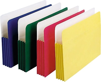 Staples Colored Expanding File Pockets, 5 1/4