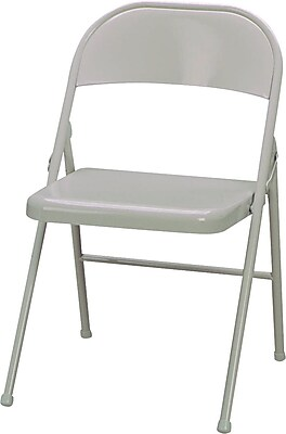 Sudden Comfort Metal Folding Chairs, Beige, 4 Pack