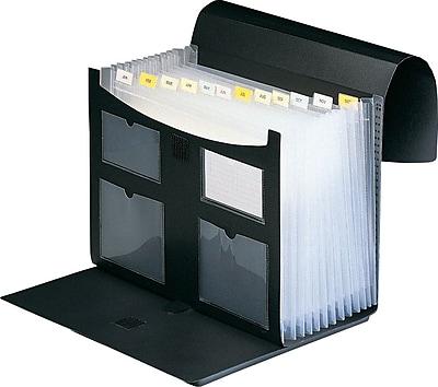 Staples 13 Pocket Plastic Expanding Desktop File, Black, Each
