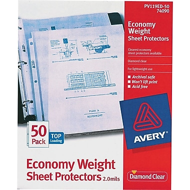 Avery Diamond Clear® Economy Weight Sheet Protectors, 50/Pack