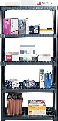 Contico Plastic Shelving, 5 Shelves, Black, 72