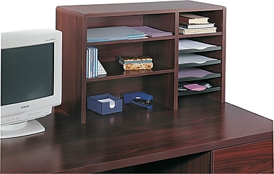 Safco® 7-Compartment Wood Desktop Organizer, Mahogany