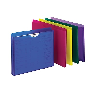 Staples® Plastic File Jackets, Assorted Colors