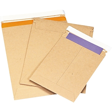 Self-Seal Flat Mailers, Kraft, 12-3/4