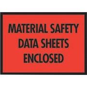 "Packing List Envelopes, 7"" x 5-1/2"", Red Full Face ""M.S.D.S. Enclosed"", 1000/Case"