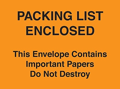 Packing List Envelopes 4-1/2