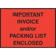 "Staples® Packing List Envelope, 4-1/2"" x 6"", Red Full Face ""Important Invoice/Packing List Enclosed"", 1000/Case"