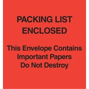 "Staples® Packing List Envelopes, 5"" x 6"", Red Paper Face ""Packing List Enclosed-Do Not Destroy"", 1000/Case"