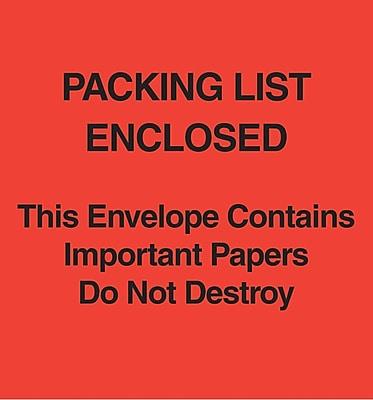 Packing List Envelopes, 5