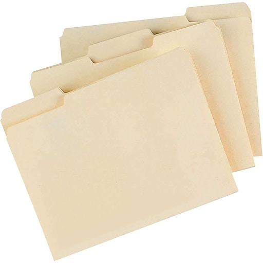 staples manila file folders letter 3 tab assorted position 100