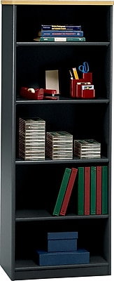 Bush Business Cubix 26W 5 Shelf Bookcase, Euro Beech/Slate