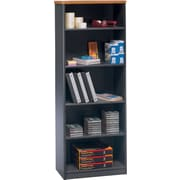 Bush Business Cubix 26W 5 Shelf Bookcase, Natural Cherry/Slate, Installed