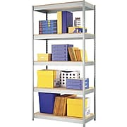 "Hirsh Boltless Steel Shelving, 5 Shelves, Silver, 72""H x 36""W x 18""D"