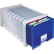 Storex® Stackable Plastic Storage File Drawer, Blue