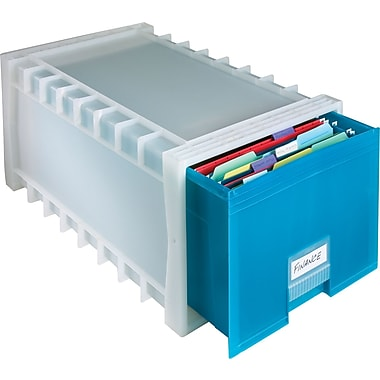 Storex® Stackable Poly File Drawer, Aqua