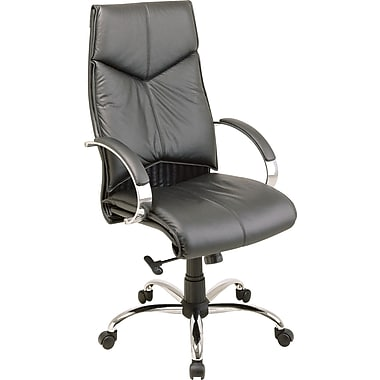 Office Star® Executive High-Back Leather Chair; Black