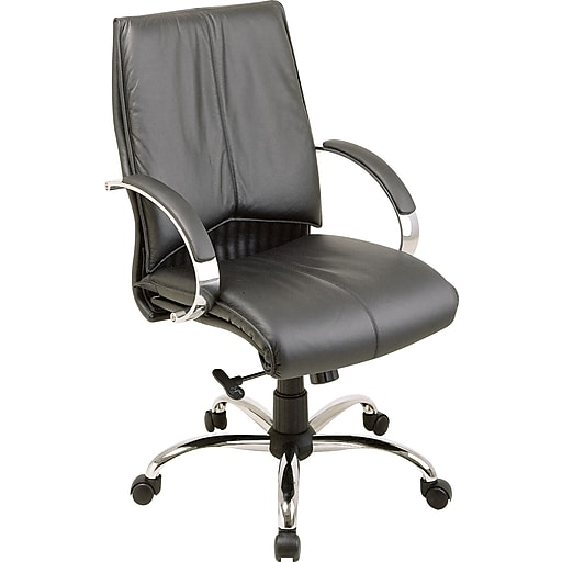 Fantastic Office Star Leather Executive Mid Back Chair Black And Chrome Spiritservingveterans Wood Chair Design Ideas Spiritservingveteransorg
