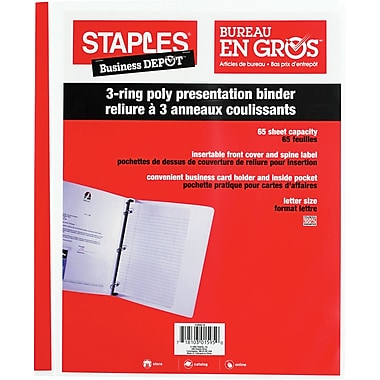 Staples® 3-Ring Poly Presentation Binder, 5/8