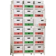 "Bin Warehouse 18-File Box Storage System, Holds boxes up to 11""H x 13""W x 18""D (DF-AE2MBFBW-06)"