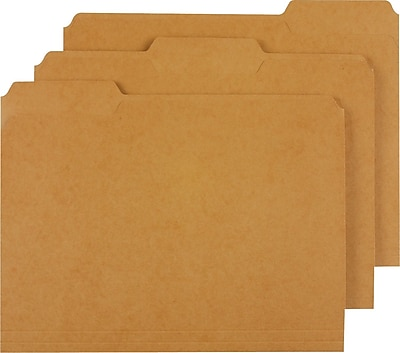 Staples® Colored Top-Tab File Folders, 3 Tab, Kraft, Letter Size, 100/Pack