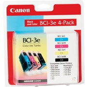 Canon® BCI-3E Inkjet Cartridges Multi-pack (4 cart per pack), 1 ea of Black, Cyan, Magenta, Yellow