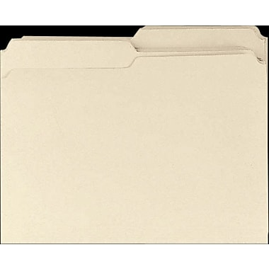Staples® Top Tab Manila File Folders, 2 Tab, Assorted Positions, 100/Box