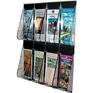 Deflecto Stand-Tall® Leaflet Wall Rack, 8 Pockets, Clear, 23 1/2