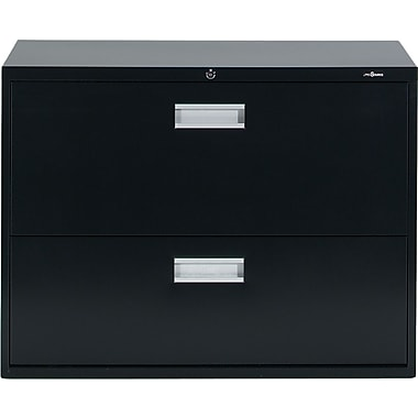 Staples® Lateral File Cabinet, 2-Drawer, Black