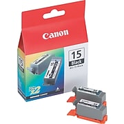 Canon BCI-15 Black Standard Yield Ink Cartridge, 2/Pack (8190A003)