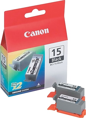 Canon BCI-15BK Black Ink Cartridges (8190A003), 2/Pack