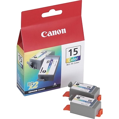 Canon BCI-15CL Color Ink Cartridges (8191A003), 2/Pack