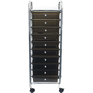 Advantus 10-Drawer Organizer, Smoke Grey