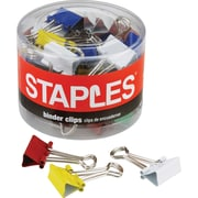 "Staples® Small Colored Metal Binder Clips, 3/4"" Size with 3/8"" Capacity"