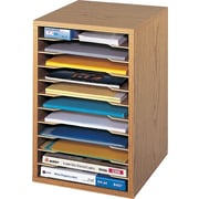 "Safco® Vertical Desktop Sorter, 16""H x 10 3/4""W x 12""D, Medium Oak (9419MO)"