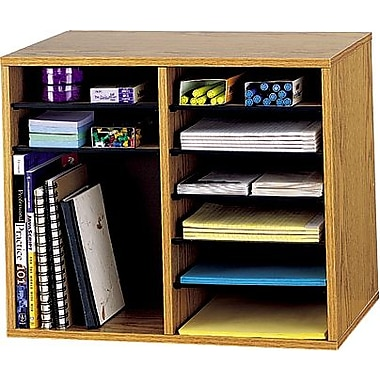 Safco® Adjustable Wood Literature Organizer, 12 Compartment, 19 1/2