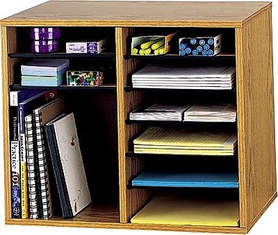 Safco® Wood Adjustable Organizers, Medium Oak