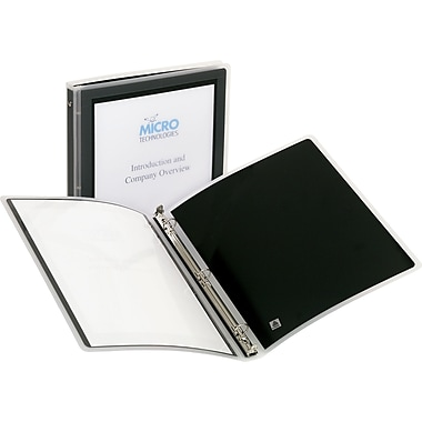 Avery Flexi-View 1-Inch Round 3-Ring Presentation Binder, Black (14985-CC)