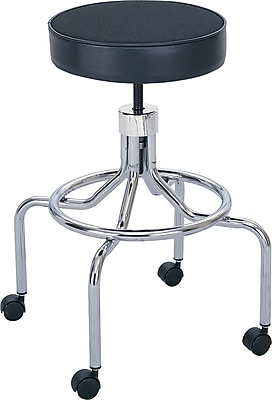 Safco® Screw Lift Height-Adjustable High Base Faux Leather Lab Stools, Black