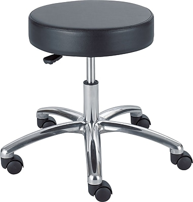 Safco® Pneumatic Lift Height-Adjustable Backless Faux Leather Lab Stool, Black