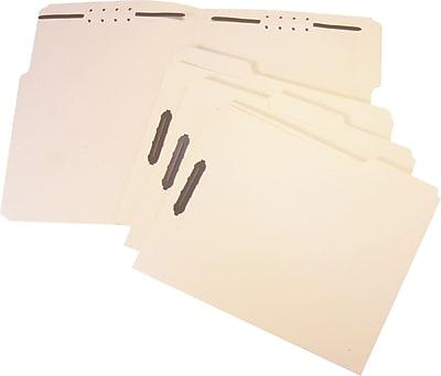 Staples Reinforced Fastener Folders, Letter Size, 3 Tab, Manila, 50/Box