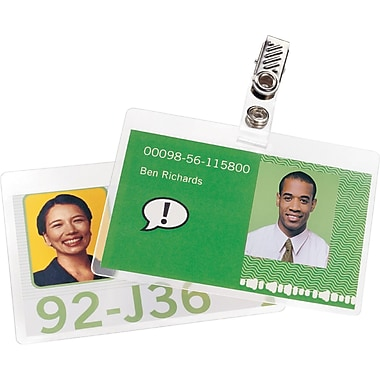 GBC® HeatSeal™ 5 Mil, Ultra Clear Pre-Punched ID Badge Laminating Pouches With Clips, 25-pk (3202011)